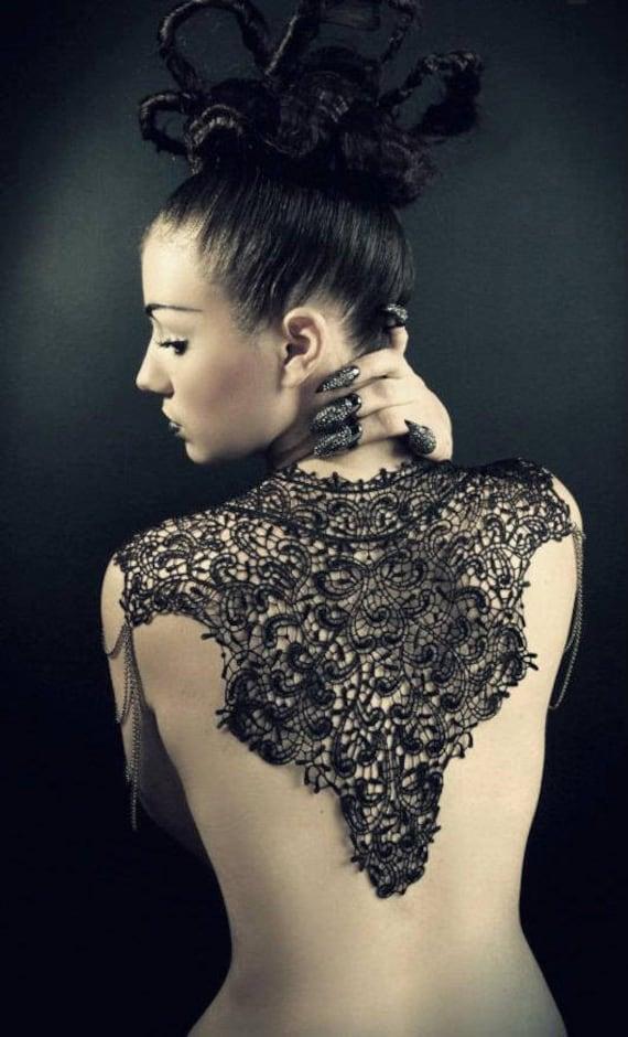 Steampunk lace bib feather collar Body Tattoo  festival Burlesque Victorian neckpiece Victorian black lace  shoulder  pieces neck corset