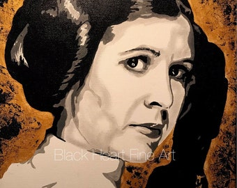Star Wars Princess Leia Carrie Fisher Original Oil Painting Print 8x10