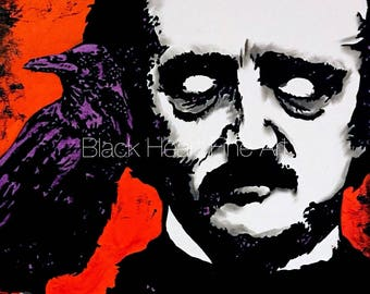 Edgar Allan Poe The Raven Original Oil Painting Print 8x10 Halloween Horror