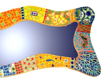 Mirror mosaic wavy and colorful-116 X 53 cm - ceramic