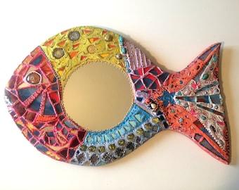 "mirror mosaic ""Oscar fish"" happy painting 24 X 15 inches"