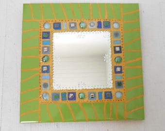 """Mosaic mirror """"ANICE"""" as a colorful and unique jewelry 30 x 30 cm"""