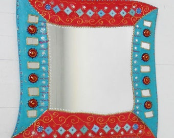"mirror painting ""two-tone"" Turquoise/red and mosaic 47 X 47 cm"