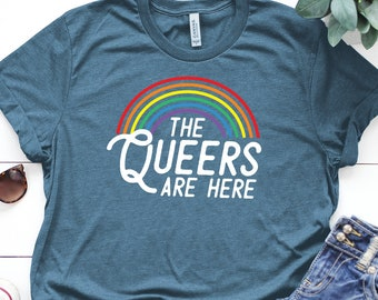 895d19c176dfc2 The Queers Are Here Shirt ∙ Rainbow T-Shirt ∙ Love Equality ∙ Bisexual Shirt  ∙ Gay Pride ∙ Lesbian Shirt ∙ Asexual ∙ Softstyle Unisex Shirt