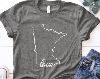 Minnesota Home T-Shirt ∙ Land of 10000 Lakes T Shirt ∙ Love Minnesota Shirt ∙ Minnesota Gifts ∙ MN Shirt ∙ MN Gift Idea ∙ Midwest Pride Tee