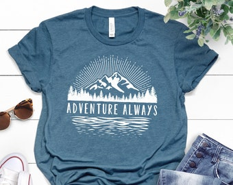 8a333ebeb Mountains T-Shirt ∙ Adventure Always Shirt ∙ Mountain Shirt ∙ Hiking Shirt  ∙ Camping Shirt ∙ Mountains Calling ∙ Softstyle Unisex Shirt