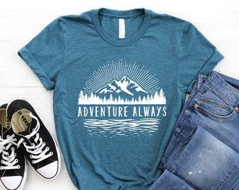 d4d449e5 Mountains T-Shirt ∙ Adventure Always Shirt ∙ Mountain Shirt ∙ Hiking Shirt  ∙ Camping Shirt ∙ Mountains Calling ∙ Softstyle Unisex Shirt