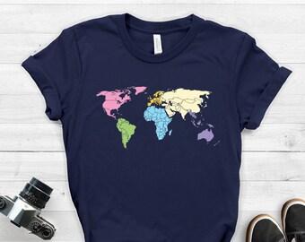 8fa1a461 World Map Shirt ∙ Travel Shirt ∙ Adventure Shirt ∙ World Traveler Gift ∙  Adventure Awaits ∙ Wanderlust Shirt ∙ Softstyle Unisex Tee