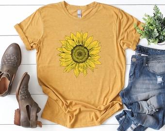 Sunflower Shirt ∙ Summer Tshirt ∙ Hippie Shirt ∙ Fall Shirt ∙ Sunflower Tee ∙ Wild Flower Shirt ∙ Save The Bees ∙ Softstyle Unisex Tee