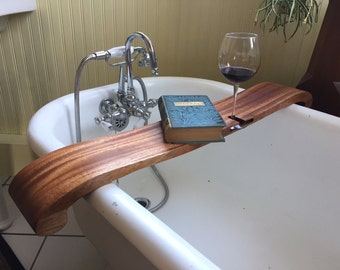 Bath Caddy Mahogany Wood with Wine Holder