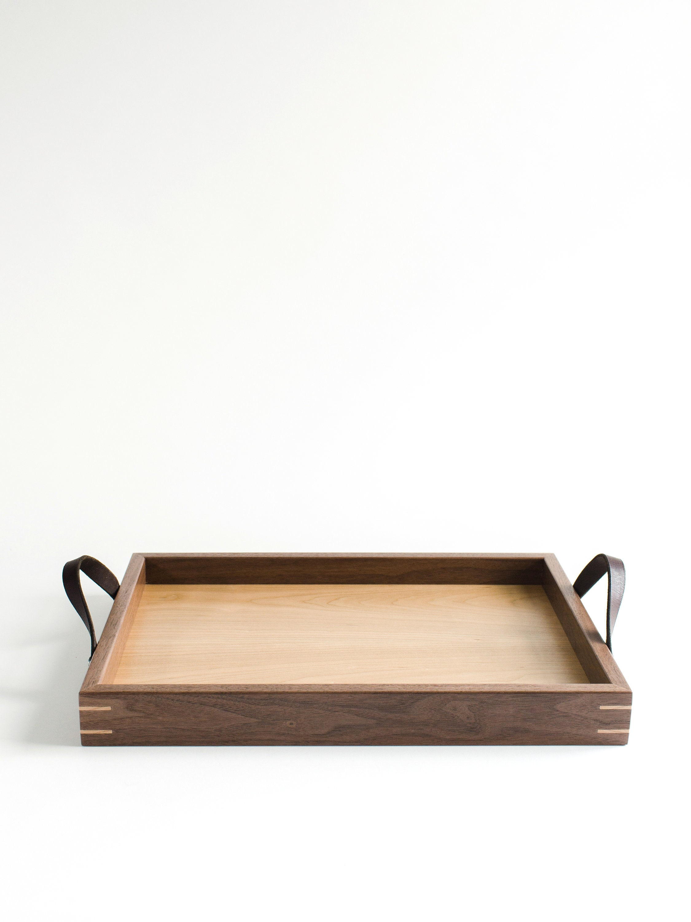 custom engraved serving tray with walnut and cherry wood
