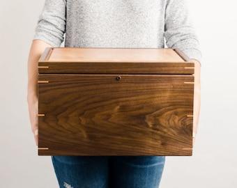 Extra Large Keepsake Memory Box - Personalized - Walnut with Cherry wood