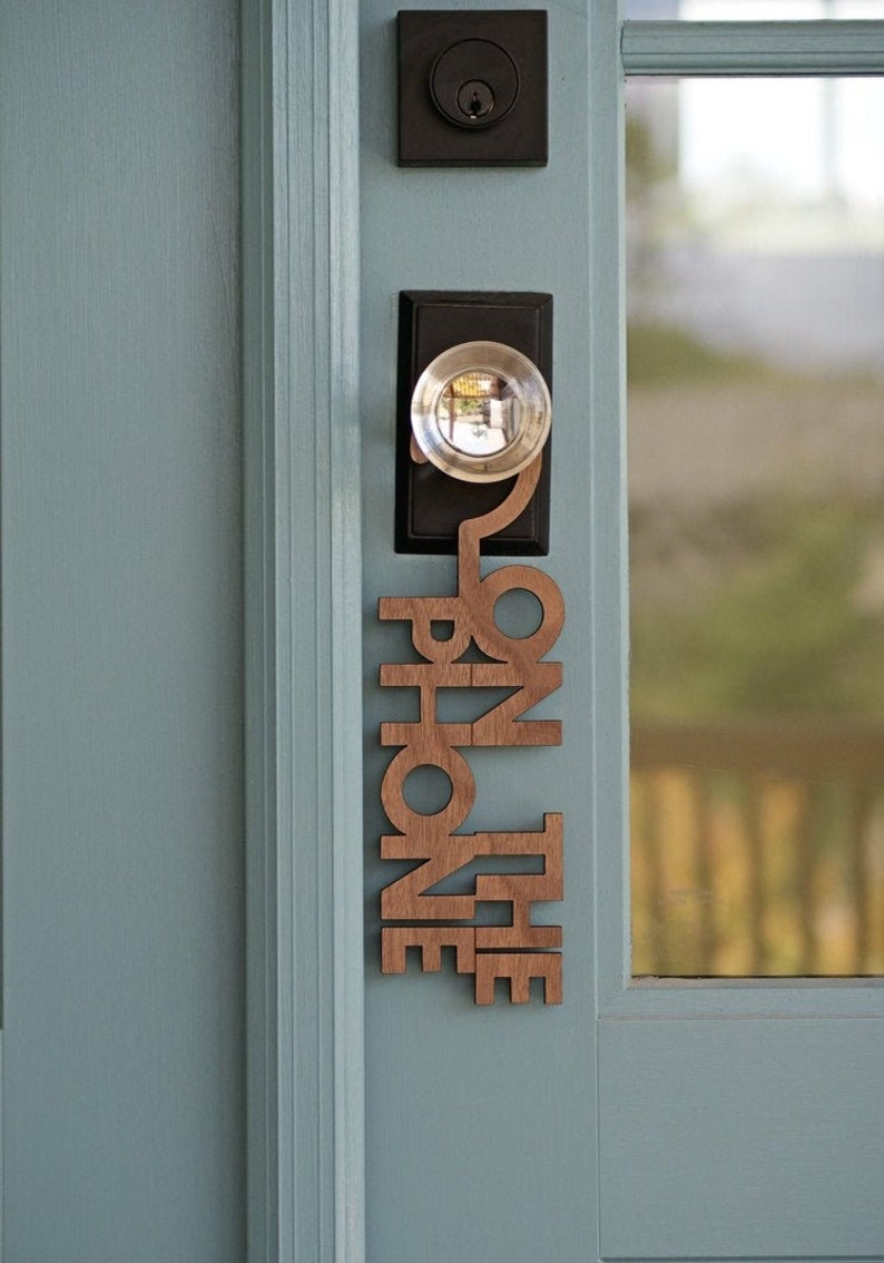 On The Phone Door Sign Hanger  Hard Maple or Walnut Wood image 0