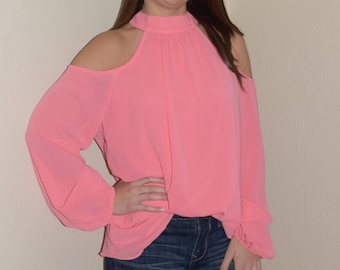 52632ce2748454 Cold Shoulder Top in Coral