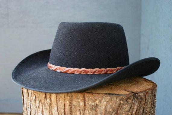 2c2f630f7 vintage Akubra hat | black wool | Australian cowboy hat | pure fur felt hat  | leather band | outback | made in Austrialia