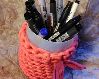 Bote de lápices de trapillo, cesta para pinceles. Almacenaje pequeño. Decoración del hogar
