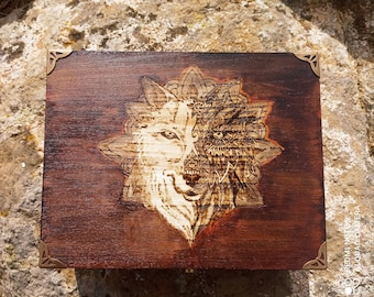 Witch box with wolf and mandala. Ritual of magical well-being. Apothecary of personal magic. Natural health kit. Holistic healing