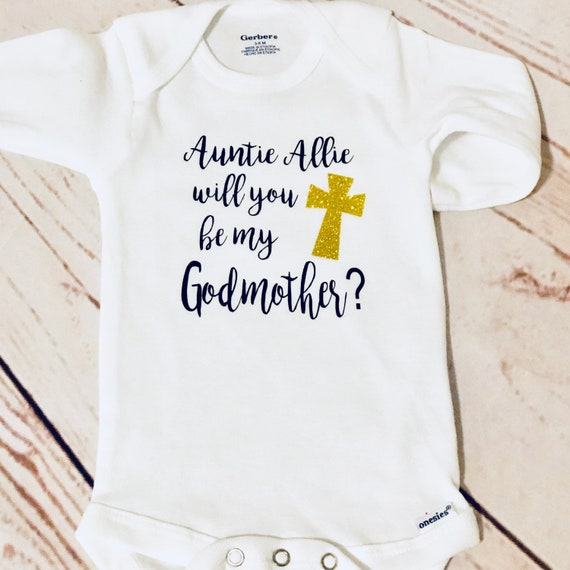 Will You Be My Godmother Embroidered Baby T-Shirt Gift Godparent