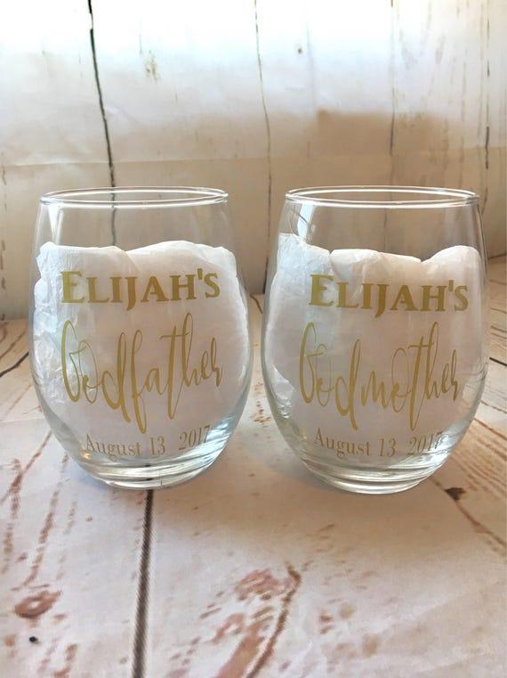 Godmother Wedding Gift: Godparents Wine Glasses Godfather Gift Godmother Gift