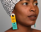 African Earrings, Wood Earrings, Turquoise Earrings, Yellow Earrings, African Jewelry, Ethnic Earrings, African Jewelry For Women