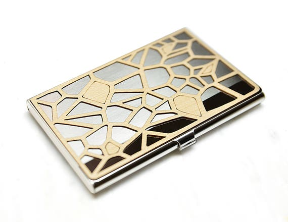 Wood business card case metal business card case voronoi etsy image 0 colourmoves
