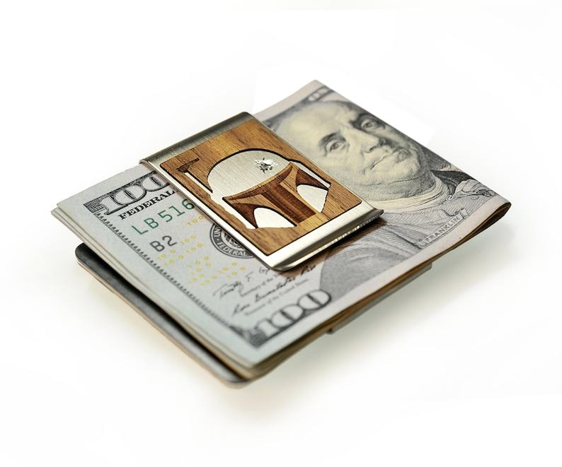 Boba Fett Bounty hunter Mandalorian helmet Star Wars gift him Star Wars business card holder Star Wars money clip Money clip wallet