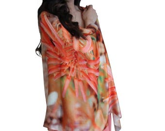 Designer Silk Scarf Australian Souvenir, Printed Silk Scarf, Floral Scarf, Christmas Gift for her