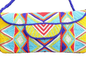 Beaded clutch bag, african style bag  boho bag envelope clutch handmade bag beaded clutch purse party purse gift for her mothers day gift
