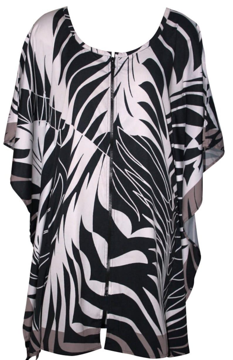 Printed Kaftan Dress Plus Size Kaftan Beach Cover Up Black and White Kaftan Beachwear Summer Boho Kaftan Mother/'s Day Gift for Her