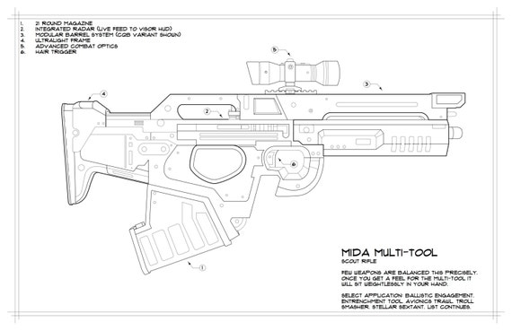 Destiny: Mida Multi-Tool Schematic Drawing | Etsy