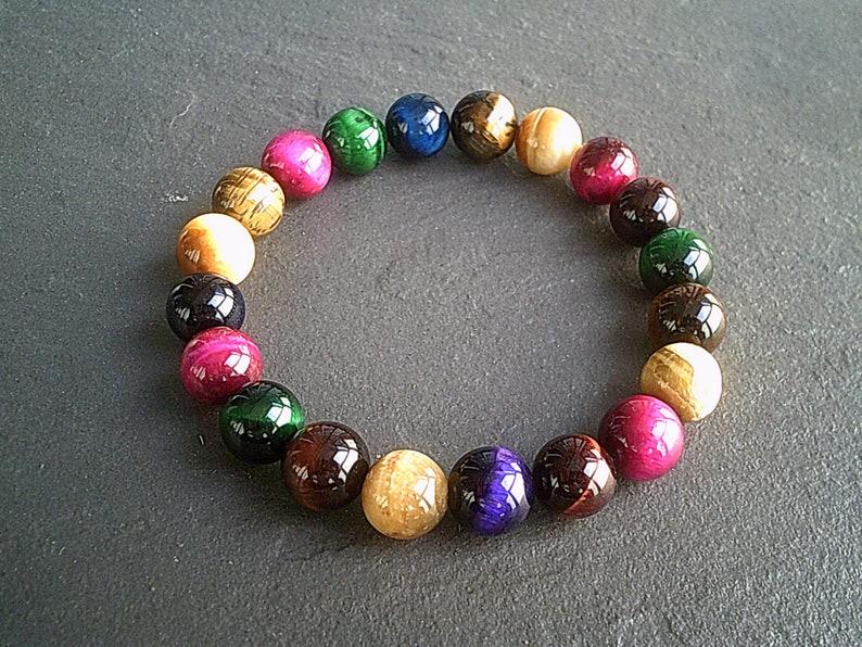 10mm MIxed Tigers Eye Gemstone Stretch Bracelet  Agate Crystal Bracelet Jewelry  Natural Reiki Healing  Chunky Rainbow Bracelet UK