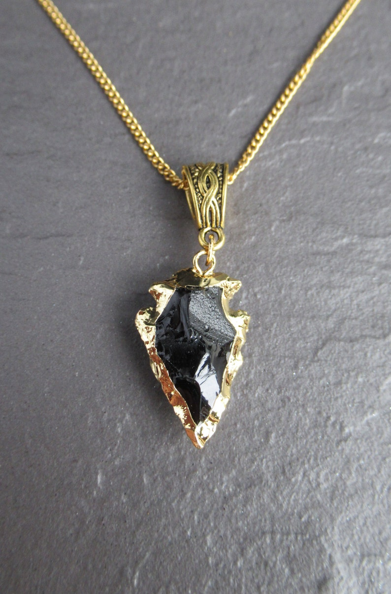 Stone Archer Chain UK Black Arrowhead Gold Necklace Obsidian Crystal Healing Protection Black Gold Gemstone Pendant Necklace