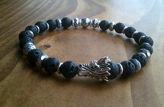 Mens Beaded Bracelet Handmade Bead Lava Stone Gold Silver Dragon Head 8mm