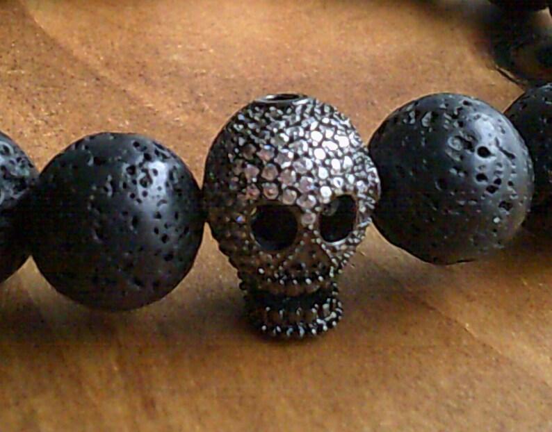 Mens Skull /& Lava Bead Bracelet Paved Skull Bracelet Gemstone bracelet Jewelry for Men Natural Healing Gemstone Jewellery