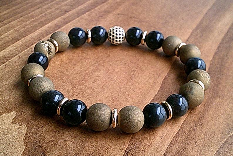 Mens 10mm Metallic Titanium Druzy Quartz Agate and Black Obsidian Gemstone Bracelet Mens Black and Gold Bracelet Urban Fashion Jewelry UK