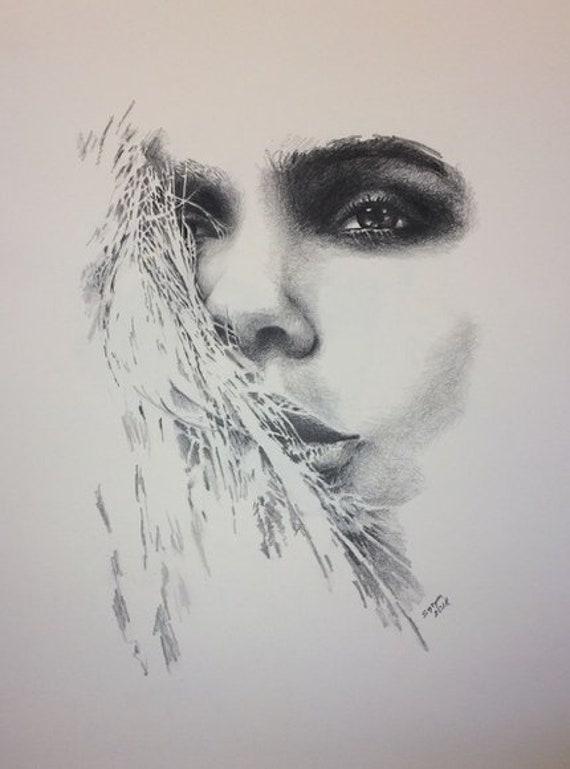 Portrait Ix Subtil Dessin Avec Un Crayon Et Pastel Sur Papier Etsy