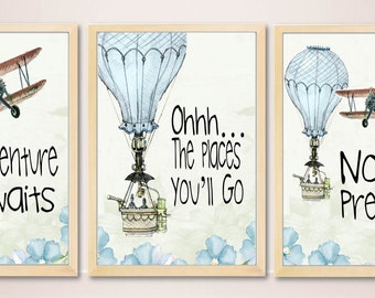 Personalized Boy Nursery Wall Art,Hot Air Balloon,Airplane,Oh The Places  Youu0027ll Go,Boy Print, Kids Room Wall Art,Dr Seuss Kids Quote Print