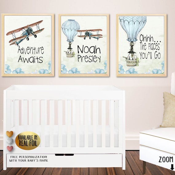 Hot Air Balloon Nursery Gender Neutral Baby Shower Gift Set Of 3