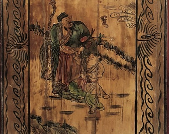 An antique Chinese lacquer painting on wood panel signed Yun Qing in Ding Chou year