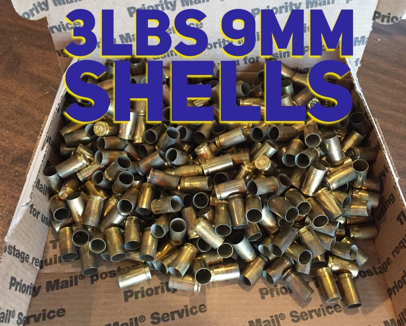 9MM Brass Shells Empty Used Spent Casings Once Fired Reloading 9X19 Pistol  Handgun Uncleaned DIY Bullet Jewelry Ammo Crafts 3lbs