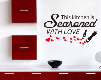 Vinyl Print Decor Wall Art Decal - This kitchen is seasoned with love-1