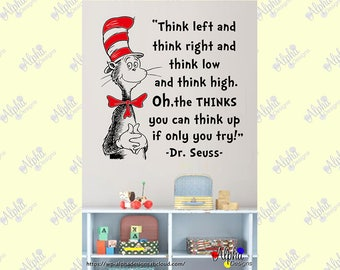 Children Kids Room Wall Art Decor: Decal - Oh, the Thinks You Can Think! (Dr Seuss)-2