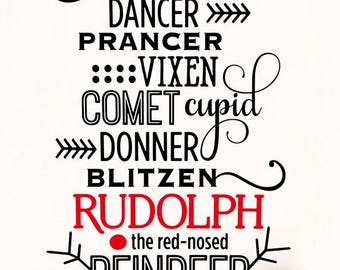 Christmas Wall Art Decal - Rudolph the Red Nosed Reindeer Vinyl Lettering Quote for Room Decoration
