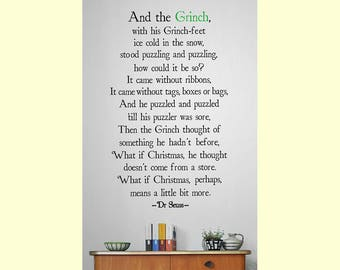 Christmas Wall Art Decal - The Grinch (Dr Seuss) Vinyl Lettering Quote for Room Decoration