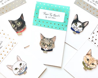 Choose an Illustration Cat Magnet w/ Custom Coloring,  Illustrated Cat Gift, Custom Cat Art, Customizable Cat Gift, Personalized Cat Gift