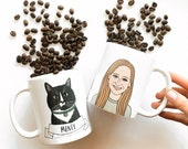 Custom Portrait Mug, Personalized Coffee Mug, Illustrated Mug, Pet Mug, Pet Portrait Mug, Personalized Gift for Her, Gift for Mom,Funny Gift