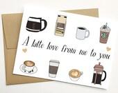 Printable Coffee Valentine's Day Card, Printable Coffee Card, Printable Coffee Lover Card, Printable Latte Card, Printable Valentine