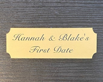 """Laser Engraved 3"""" x 1"""" Gold Plate w/Notched Corners and Adhesive Backing – Customize for Awards, Title Plates, Memorials, Inventory Labels"""