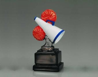 "Bold 5 1/2"" Full Color Cheerleader Pedestal Award ~ Custom Engraved"