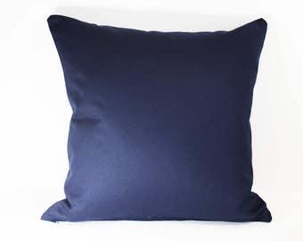 Sale Handmade plain cotton cushion in navy